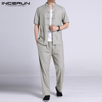 INCERUN Chinese Style Suits Men Vintage Sets Summer Short Sleeve Stand Collar Blouse Long Pants Sets Men Buttons 2 Pieces S-5XL