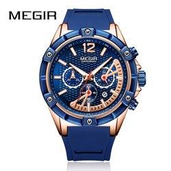 MEGIR nowy chronograf Sport męskie zegarki silikonowe zegarki kwarcowe mężczyźni zegar Student armia wojskowe zegarki na rękę Relogio Masculino
