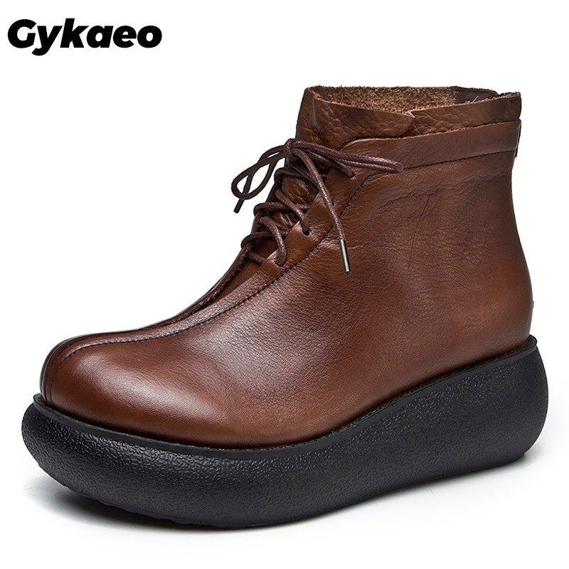 Gykaeo New Female Thick Soled Genuine Leather Boots Women Lace Up Cowhide Winter Shoes Woman Wedges Ankle Boots Zapatos De Mujer