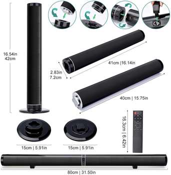 YOUXIU 65W TV Sound Bars Home Theater Soundbar Separable Bluetooth 5.0 Speakers Echo Wall Bar With Subwoofer Boost Bass 3