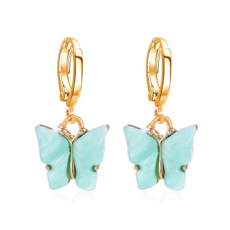 Baru Fashion Wanita Kupu-kupu Anting-Anting Drop Hewan Manis Warna Akrilik Anting-Anting 2020 Laporan Gadis Pesta Hadiah Perhiasan