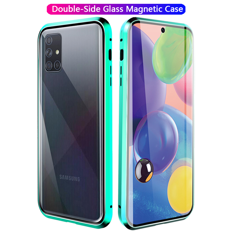 Double-Side Tempered Glass Flip <font><b>Case</b></font> For <font><b>Samsung</b></font> A51 A71 5G Magnetic 360 Full Cover For <font><b>Samsung</b></font> Galaxy A10 A20 A30 <font><b>A40</b></font> A50 Funda image