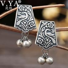 V. YA, настоящее 925 пробы, серебряные ювелирные изделия, женские серьги-гвоздики, уникальные в форме феникса, женские серьги, высокое качество