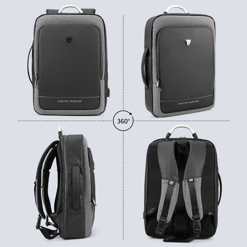 CAÇADOR ÁRTICO USB Masculino Mochila Multifuncional Portátil Saco de Mão/ombro Viagens de Negócios 15.6/17 Polegada Homens Laptop Mochila saco