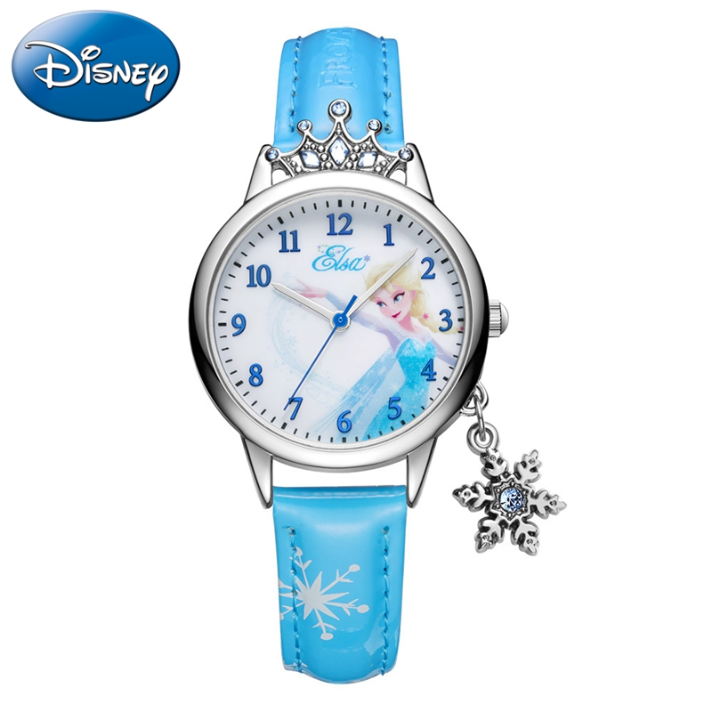 Frozen Princess Elsa Girls Luxury Bling Crystal Quartz Watch Child Cute Fashion Casual Disney Pretty Crown Kids Clock Watches