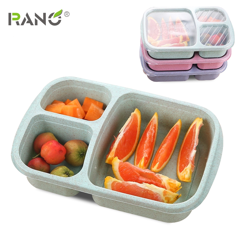RANO 1or 5pcs Reusable Wheat Microwave Picnic SuShi Fruit Storage Boxes Case Container Organizer Lunch Bento Box  Food Container