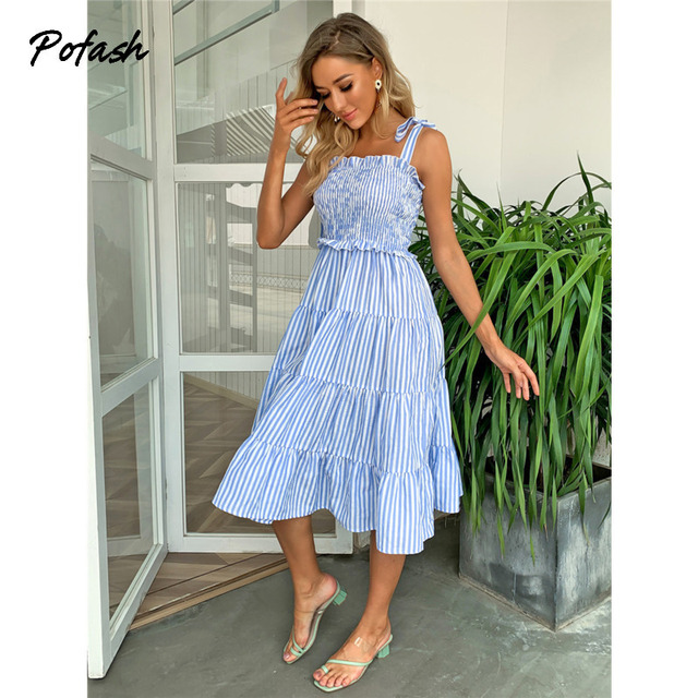 Pofash Blue Tie Bow Bohemian Dress Women Ruched High Waist Backless Spaghetti Strap Midi Dresses Summer Ruffle Beach Vestidos 3