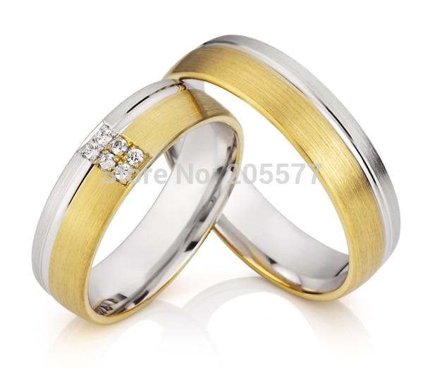Ensembles de bagues de fiançailles pour hommes et femmes en plaqué or faits à la main en acier inoxydable titane