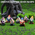 1 Set Cute Mini Resin Seven Dwarfs Statue Bonsai Decoration Props For Desk Outdoor Garden Sculpture Decor Ornament Dropshipping