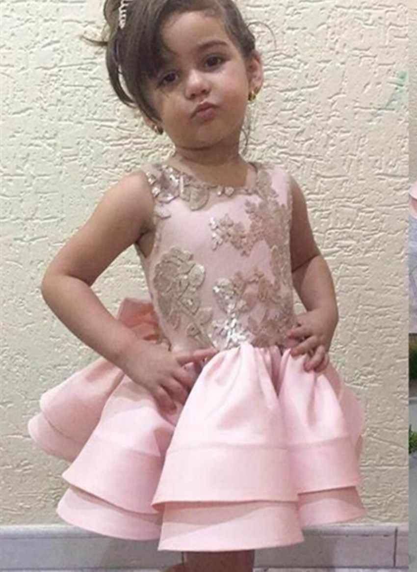 Розовые Платья с цветочным узором для девочек на свадьбу; кружевное платье с аппликацией и бантом на спине; Детские платья для причастия; платья для дня рождения; пышные платья для девочек