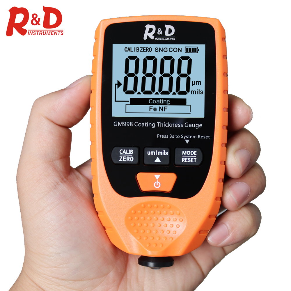 R&D GM998 Orange Car Paint Coating Thickness Gauge Electroplate Metal Coating Thickness Tester Meter 0-1500um Fe & NFe Probe