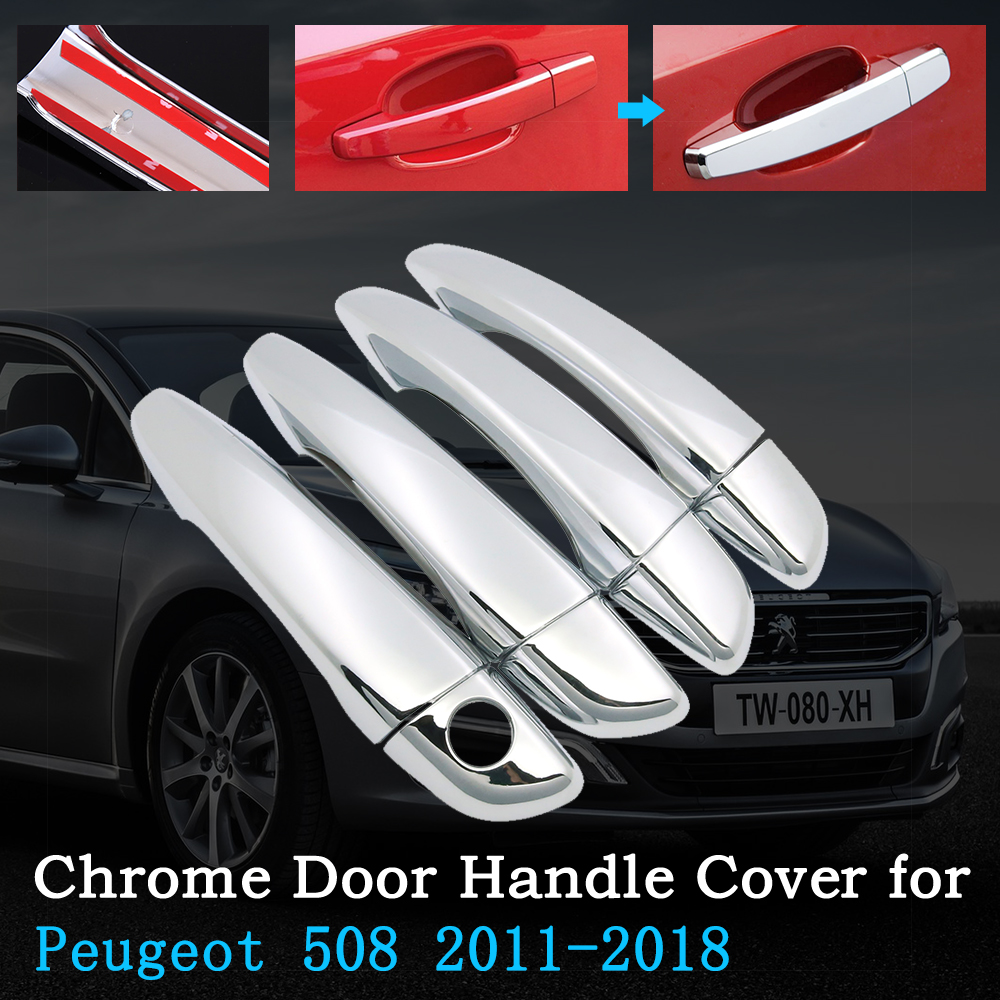 Chrome Car Door Handle Cover for Peugeot 508 SW RXH 2011 2018 Car Trim Set Exterior Accessories 2012 2013 2014 2015 2016 2017