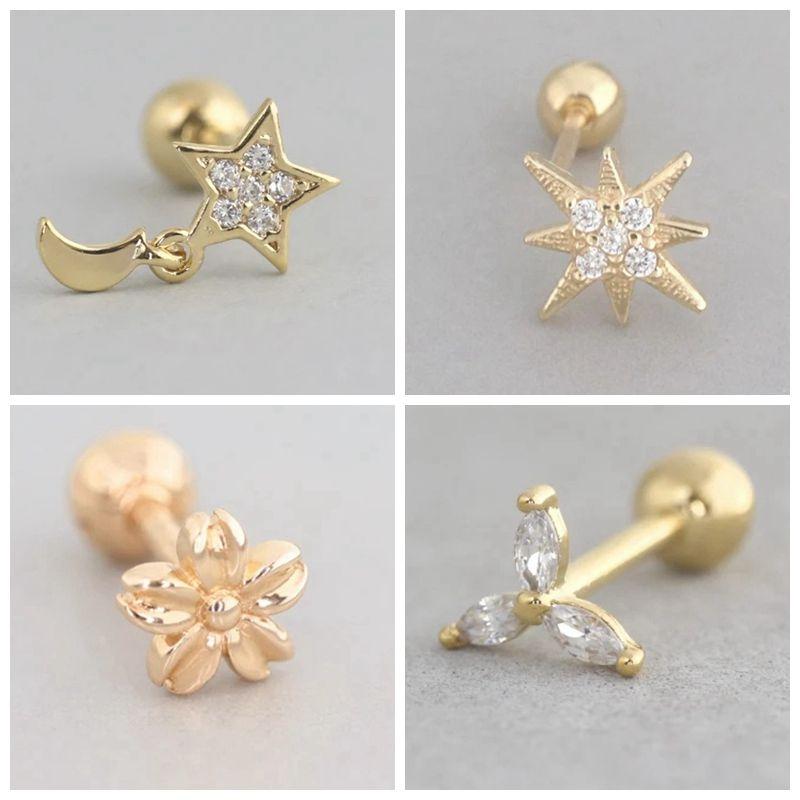 1 pair Minimalist 925 Sterling Silver star/moon Stud Earrings Delicate Tiny Dot Earrings Cartilage Helix Piercing Chain Earrings