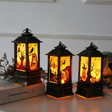 Happy Halloween Vintage Pumpkin Castle Light Lamp Party Hanging Decor LED Lantern Supplies Chinese