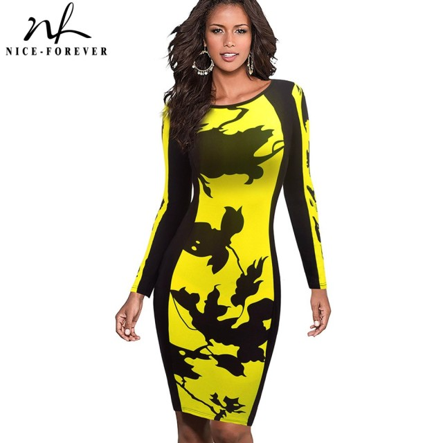 Nice-forever Vintage Contrast color patchwork vestidos Business party Bodycon Sheath Women Elegant Winter Dress u346