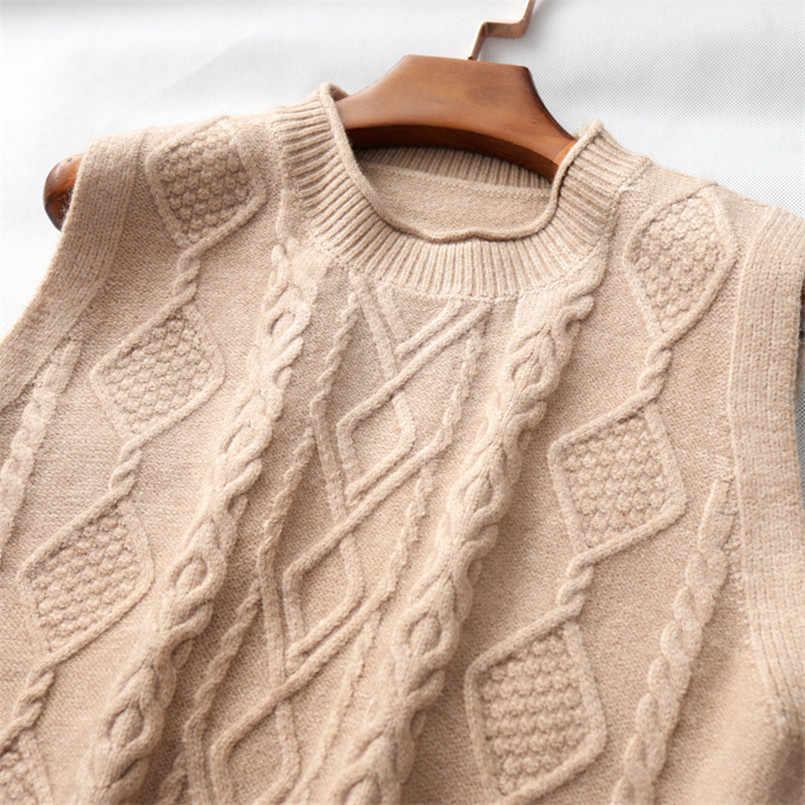 2020 새로운 한국어 패션 봄 가을 여성 트위스트 양모 조끼 캐주얼 O 넥 니트 조끼 탑 민소매 조끼 특대 스웨터 조끼