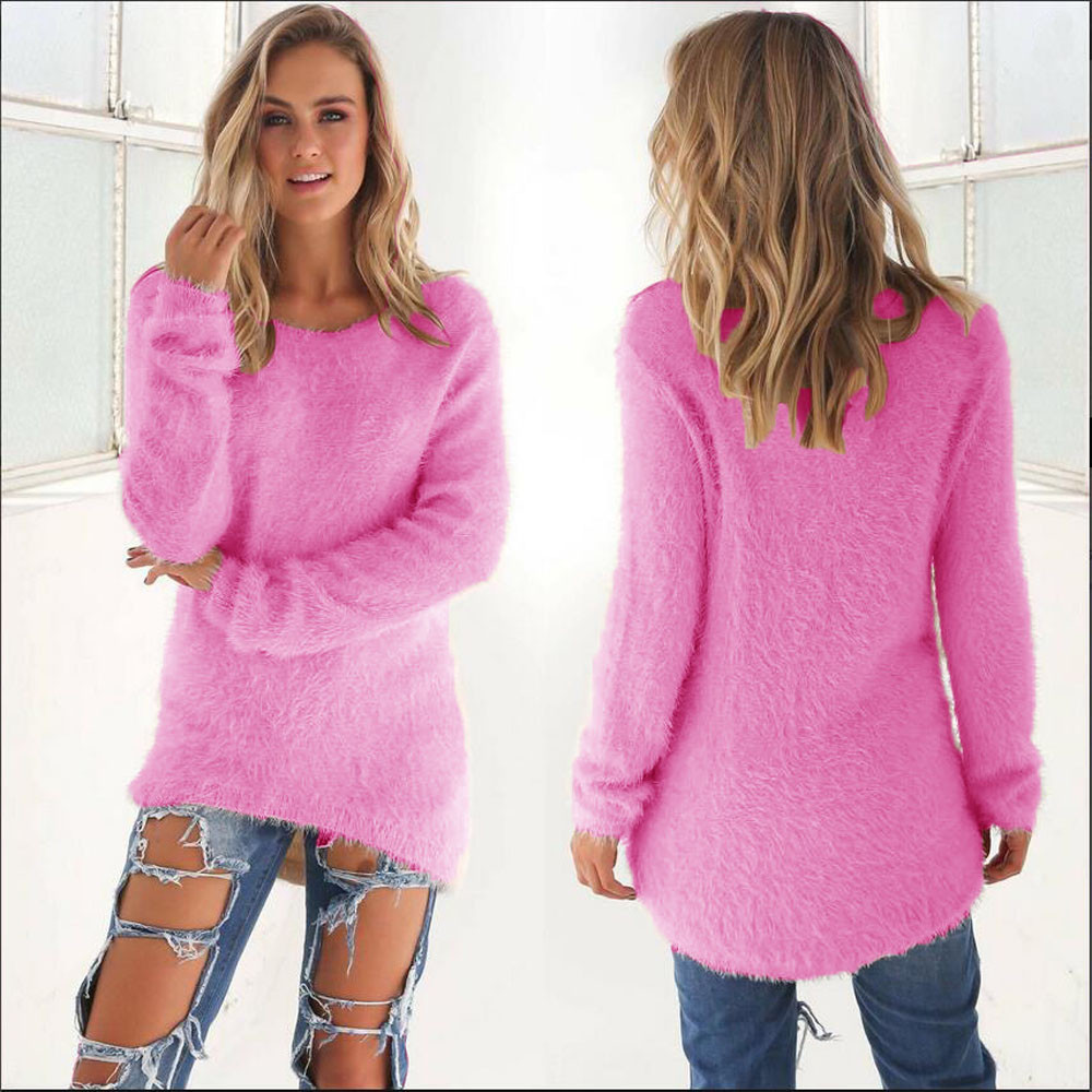 Knitted Fluffy Plush Women's Sweater Long Sleeve Pink Sweet Female Sofa Round Neck Pullover 2019 Autumn Winter Loose Jumpers