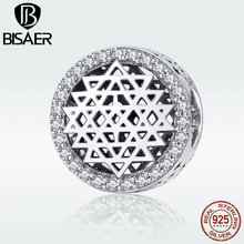 BISAER Genuine 925 Sterling Silver Beads for Women Charms Floating Mind Charm Bracelet Fashion Jewelry 2019 New HSC920