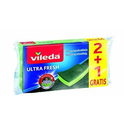 Vileda Ultrafresh Pack De 3à Récurer Avec éponge Anti Bactéries