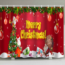 Christmas shower curtain, Christmas holiday background, floral print, perforation-free waterproof belt, 12 hook shower curtain цена 2017
