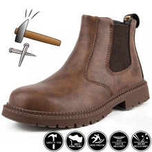 Leather Work Safety Boots Men Chelsea Boots Indestructible Work Shoes Steel Toe Winter Shoes Male Safety Shoes Zapatillas Hombre