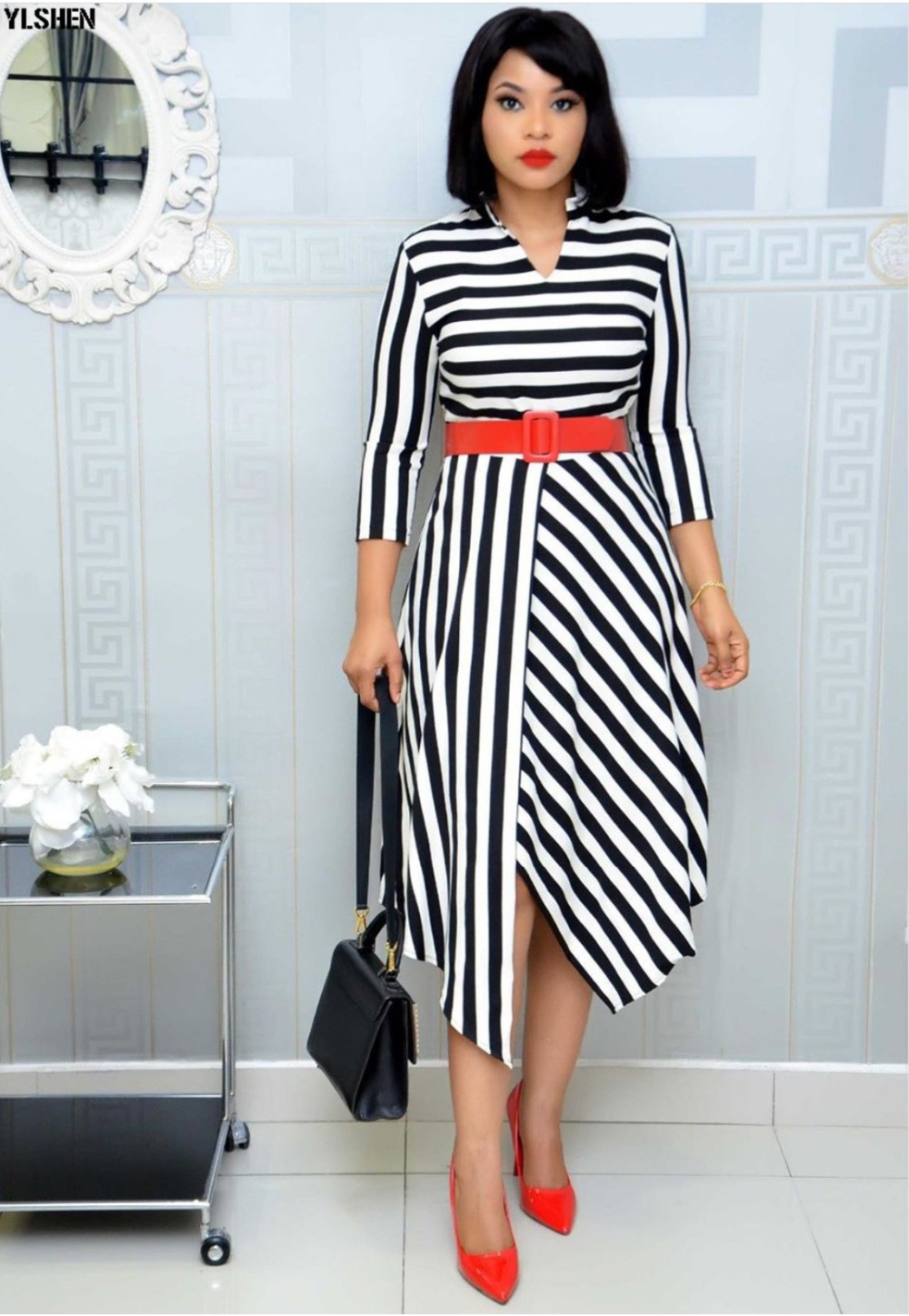 African Dresses For Women Stripe Africa Clothing Ankara Long Dress High Quality Length Fashion African Dress For Lady With Belt 33