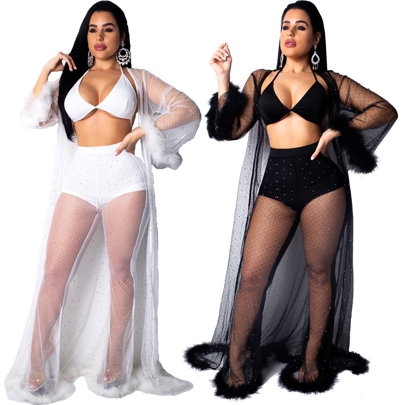 Jazz Costumes Mesh Seethrough Sexy Hot Drilling Women's Three-Piece Suit Pole Dance Outfit Nightclub Singer Rave Clothes DT1284