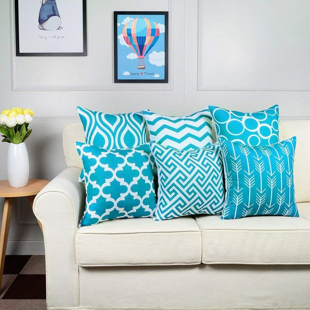 Housse de coussin turquoise - géométrique - Lot de 6