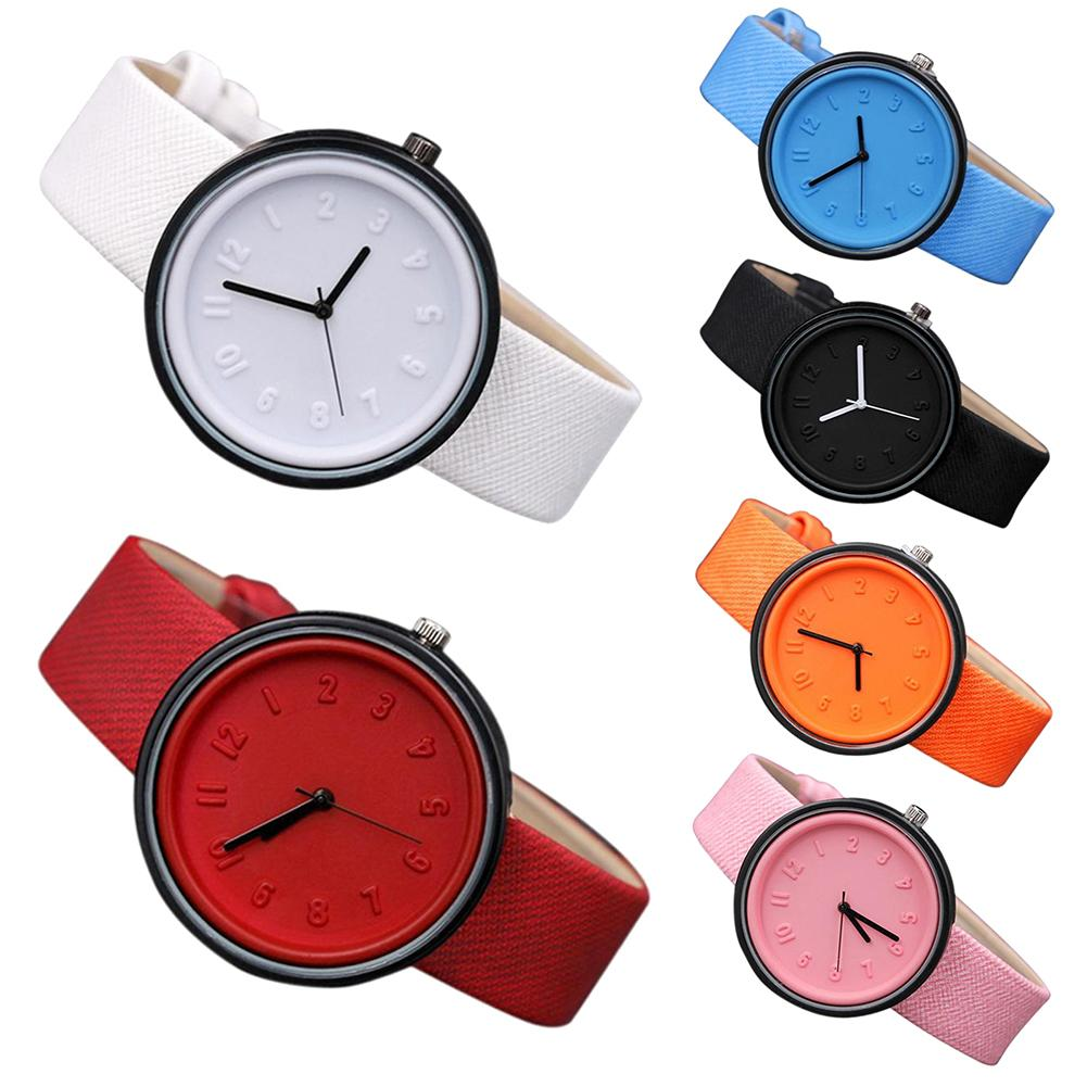 Couples Solid Color Arabic Numerals Round Dial Cloth Band Analog Quartz Watch New