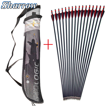 31'' Spine 500 Archery Fiberglass Glassfiber Arrows with Arrow Quiver for Recurve Bow Compound Bow Hunting Shooting Accessories cowhide leather shoulder back large capacity quiver arrow holder for compound recurve bow shooting hunting archery arrow quiver