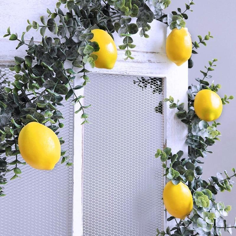 20 Pcs Artificial Lemons Fake Lemons Faux Lemons Fruits In Yellow 3 Inch Long X 2 Inch Wide-ABUX