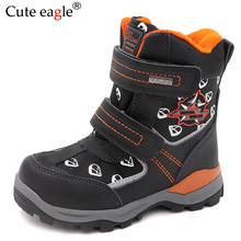 Cute eagle New Winter Boys Snow Boots Pu Leather Mid-Calf Childs Shoes Plush Rubber Warm Wool for EU 27-32