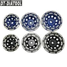 цена на DT-DIATOOL 2pcs Dia 100/115/125mm Diamond Double Row Cup Grinding Wheel M14 or 5/8-11 for Concrete Hard Stone Granite Marble