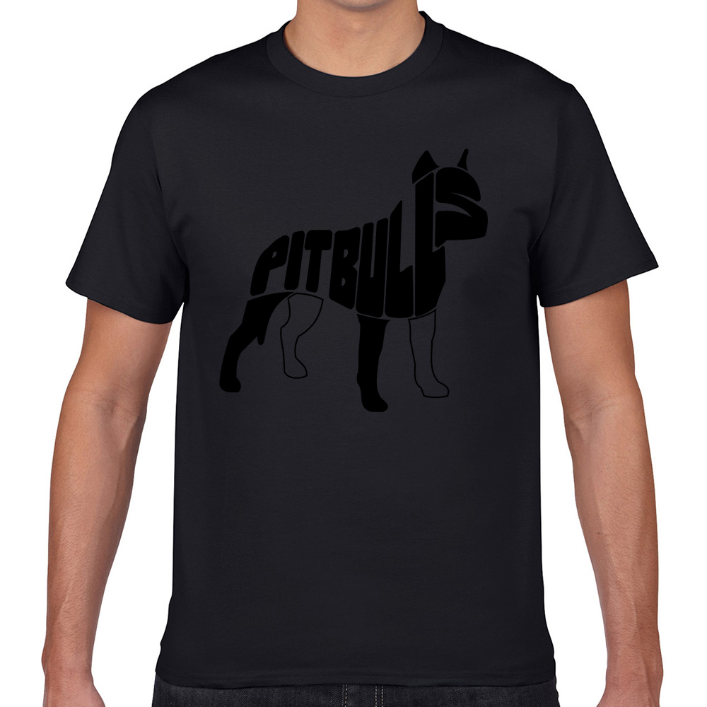 Tops T Shirt Men pitbull <font><b>dog</b></font> <font><b>art</b></font> Comic Inscriptions Geek Print Male <font><b>Tshirt</b></font> XXXL image