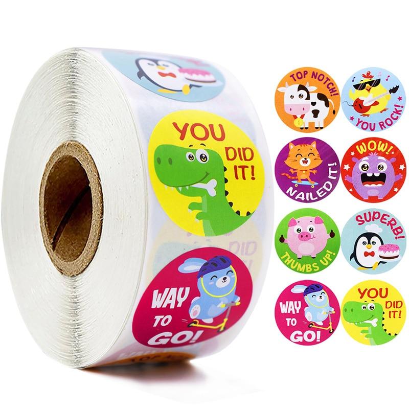 Cartoon Animals Stickers  Cute Words Reward Stickers for Teacher Encourage Student 1'' 500pcs/roll Round Reward Sticker for Kid