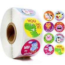 Cartoon Animals Stickers  Cute Words Reward Stickers for Teacher Encourage Student 1'' Round Reward Sticker for Kid