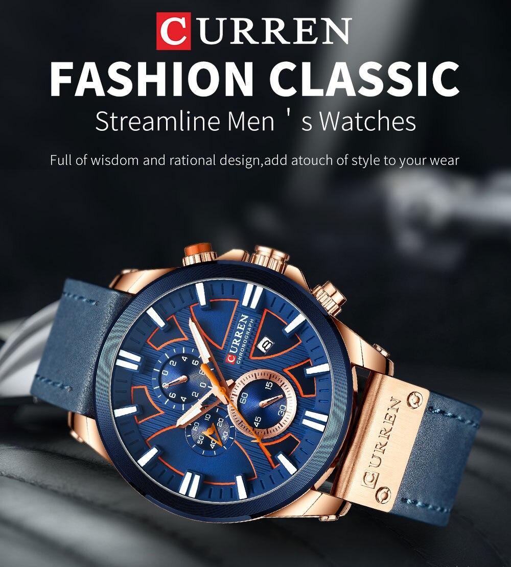 Hdb75a79204694127acf65c9b4098187dG CURREN  Brand Luxury Men Watch Leather Quartz Clock Fashion Chronograph Wristwatch Male Sport Military 8346 Relogio Masculino