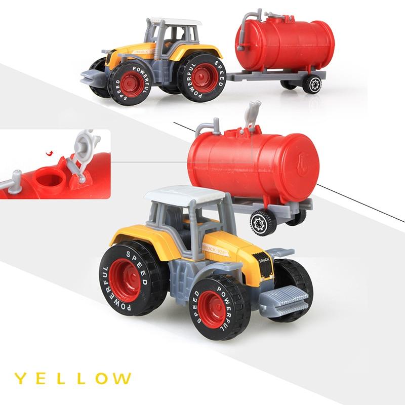 Литая под давлением сельскохозяйственная техника мини-модель автомобиля Инженерная модель автомобиля трактор инженерный автомобиль трактор игрушки модель для детей Рождественский подарок - Цвет: Tractor Yellow