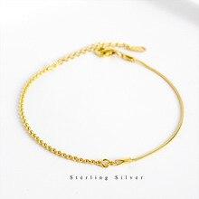 ZOBEI Real 925 Sterling Silver Minimalist Geometric Bracelet Fine Jewelry For Fashion Woen Birthday Party Accessories Gift