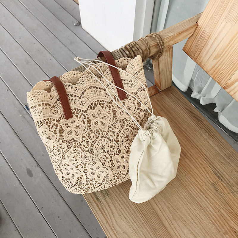 Bucket Shoulder Bag For Women 2019 New Summer Korean Lace Elegant Women Tote Shopping Female Bags Lady Handbag Female Beach Bag