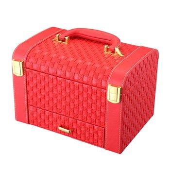 Portable Originality Woven Pattern Box Makeup Storage Case Desktop Organizer Jewelry Ornaments Drawers Cosmetic Organizer