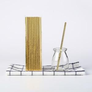 Image 4 - 25 個ストライプ紙わらブロンズわら誕生日パーティーの装飾用品環境ストローダイニングツール