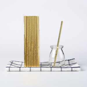 Image 4 - 25pcs stripe paper straw bronzing straw wedding birthday party decoration supplies environmental drinking straw dining tools