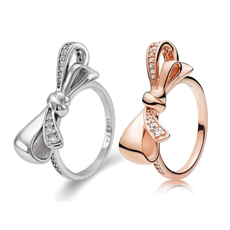 Free Shipping Real 925 Sterling Silver Rose Gold Shiny Butterfly With Crystal Ring For Women Wedding Party Gift Fashion Jewelry
