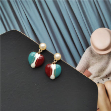 Korean Little Cute Vintage Heart Pearl Simple Woman Girls Stud Earrings Fashion Jewelry Holiday-JQD5-W2