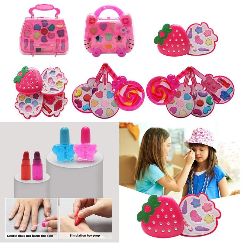 Kids Make Up Toy Set Water Soluble Formula Pretend Play Princess Makeup Beauty Safety Toys Kit Easy To Wash Girl Makeup Supplies