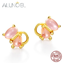 ALLNOEL Silver 925 Jewelry Stud Earrings for Women Natural Rose Quartz Pink Stone Gemstone Wedding Party Gold Color Jewelries(China)