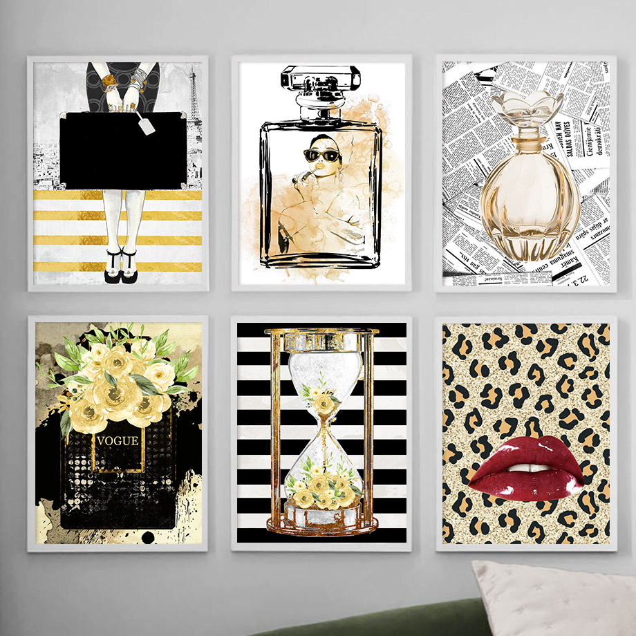 Fashion Leopard Lip Perfume Hourglass Wall Art Print Canvas Painting Posters And Prints Wall Pictures For Living Room Home Decor