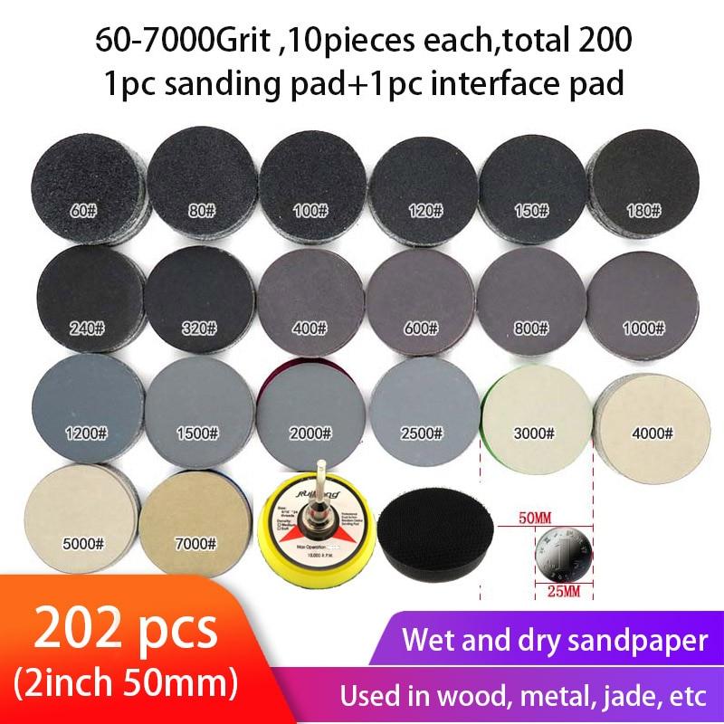 202pcs Wet Dry Sandpaper Assortment 60-7000 Grit Sanding Disc 2