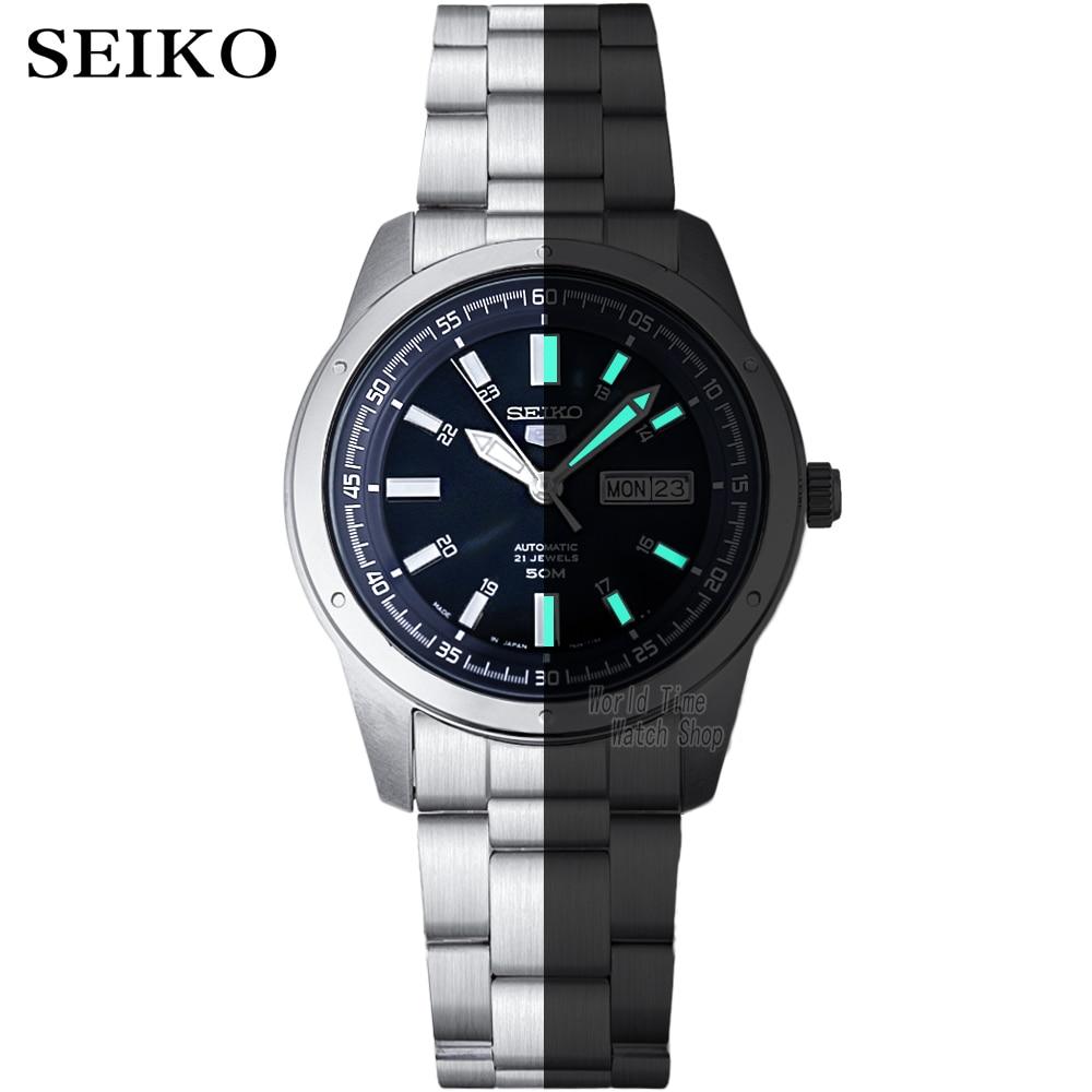 Image 2 - seiko watch men 5 automatic watch top Luxury Brand Sport men watch set men watch waterproof watch relogio masculino SNZG15J1-in Sports Watches from Watches